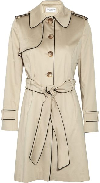 Helene Berman Piped Stretch-cotton Twill Trench Coat - Lyst