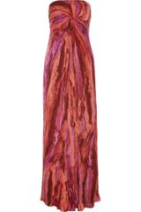 Kay Unger Printed Silksatin Maxi Dress - Lyst