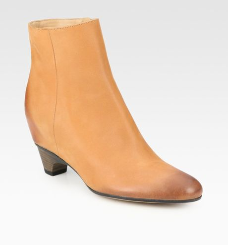Maison Martin Margiela Burnished Leather Ankle Boots in Brown - Lyst
