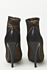 Maison Martin Margiela Defile Leather and Lace Arched Sole Boots in Brown (tan) - Lyst