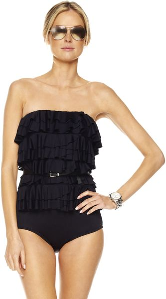 michael michael kors cascading ruffle maillot swimsuit in black lyst. Black Bedroom Furniture Sets. Home Design Ideas