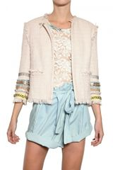 MSGM Embroidered Cotton Viscose Bouclè Jacket - Lyst