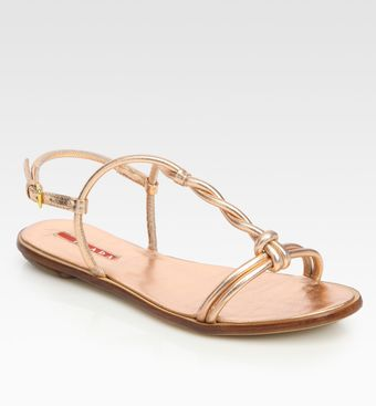 Prada Metallic Leather T-strap Flat Sandals - Lyst