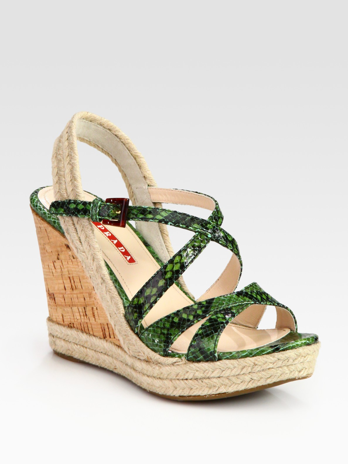 Prada Stamped Python Espadrille Slingback Wedge Sandals In