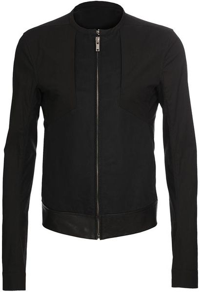 Rick Owens Cotton and Leather Bomber Jacket in Black for Men - Lyst