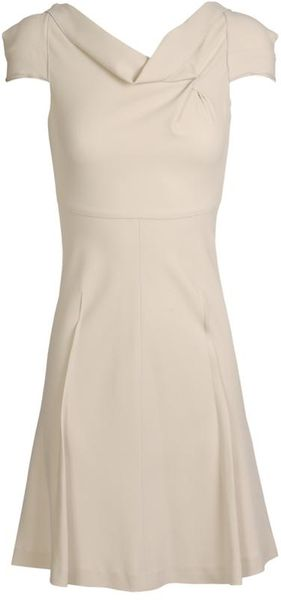 Roland Mouret Losberne Stretch Crepe Dress in Beige