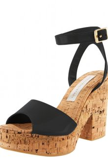 Stella McCartney Ankle-wrap Cork-heel Sandal - Lyst