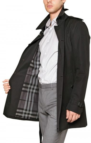 Burberry Single Breasted Cotton Trench Coat In Black For Men