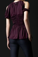 Burberry Prorsum Peplum Detail Shoulderless Top in Red (beetroot) - Lyst