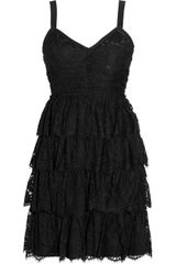 D&G Tiered Lace and Crepe Mini Dress - Lyst