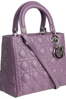 Dior Malva Cannage Quilted Lambskin Lady Medium Top Handle Bag - Lyst