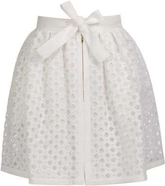 Fendi Laser-cut Cotton-silk Lattice Skirt - Lyst