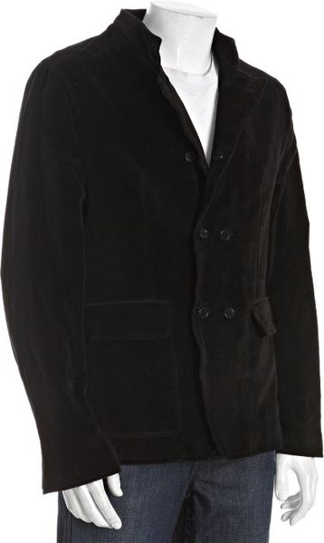 John Varvatos Usa Black Cotton Velvet Double Breasted Jacket in Black for Men - Lyst