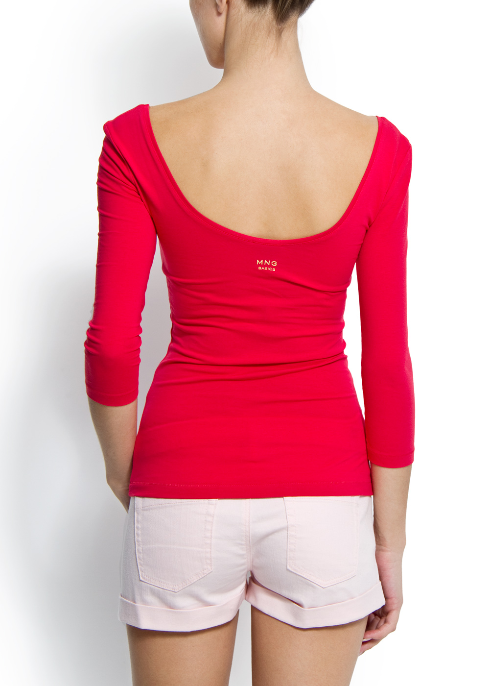 Lyst - Mango Slim-fit Scoop Neck T-shirt in Pink