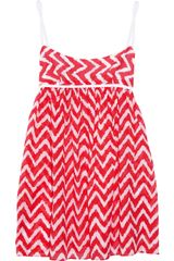Milly Valetta Zigzag-print Cotton-voile Mini Dress - Lyst