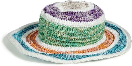 Missoni White Multicolor Striped Crocheted Hat in Multicolor (white) - Lyst