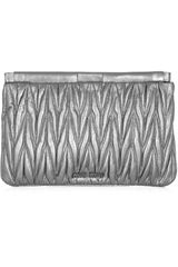 Miu Miu Metallic Matelassé Leather Clutch - Lyst
