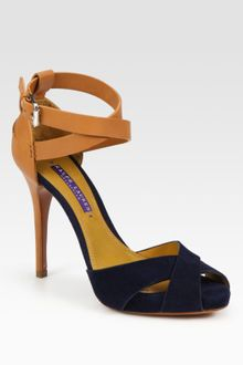 Ralph Lauren Collection Jessira Leather and Suede Platform Sandals - Lyst