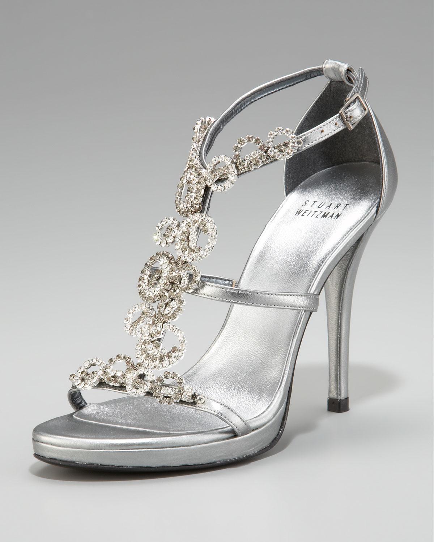 Stuart Weitzman Jeweled T Strap Sandal In Metallic Lyst
