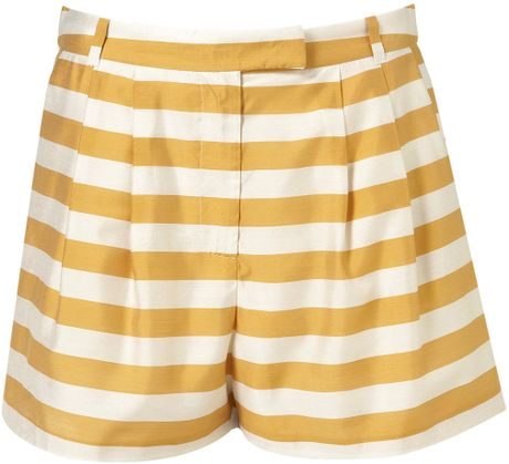 Topshop Coord Stripe Fluid Shorts in Yellow (mustard) - Lyst