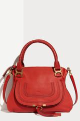 Chloé Marcie  Small Calfskin Satchel in Red (poppy) - Lyst