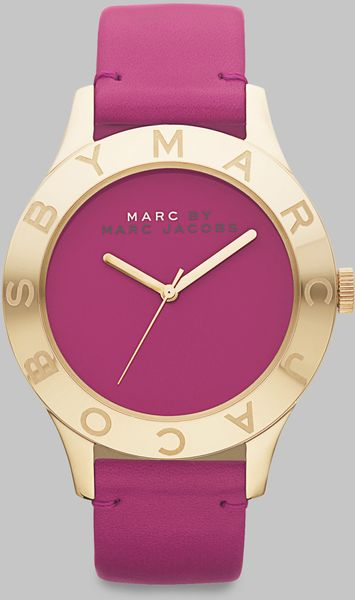 Marc By Marc Jacobs Goldtone Ionplated Logo Matte Leather Watch/amethyst in Purple - Lyst