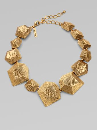 Oscar de la Renta Graduated Textured Geometric Necklace - Lyst