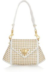 Versace Eyelet-studded Leather Shoulder Bag - Lyst