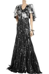 Alexander Mcqueen Printed Silk Gown in Black - Lyst