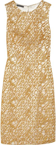 Alexander Mcqueen Embroidered Tulle and Silk Dress in Gold - Lyst