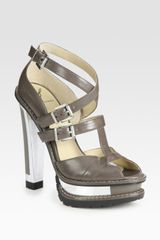 B Brian Atwood Teatro Leather Platform Sandals - Lyst