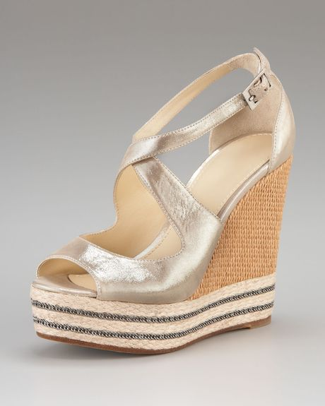 B Brian Atwood Starlight Espadrille Wedge in Gold (silver) - Lyst