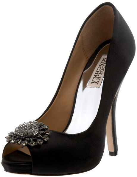 Badgley Mischka Womens Lissa Open Toe Pump in Black (black satin) - Lyst