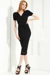 Burberry Prorsum Ruched Jersey Dress - Lyst