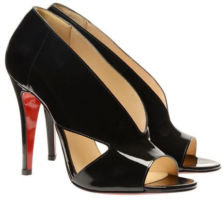Christian Louboutin Creve Coeur Patent Leather Shoeboots in Black - Lyst