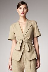 Donna Karan New York Short-sleeve Tie-front Jacket - Lyst