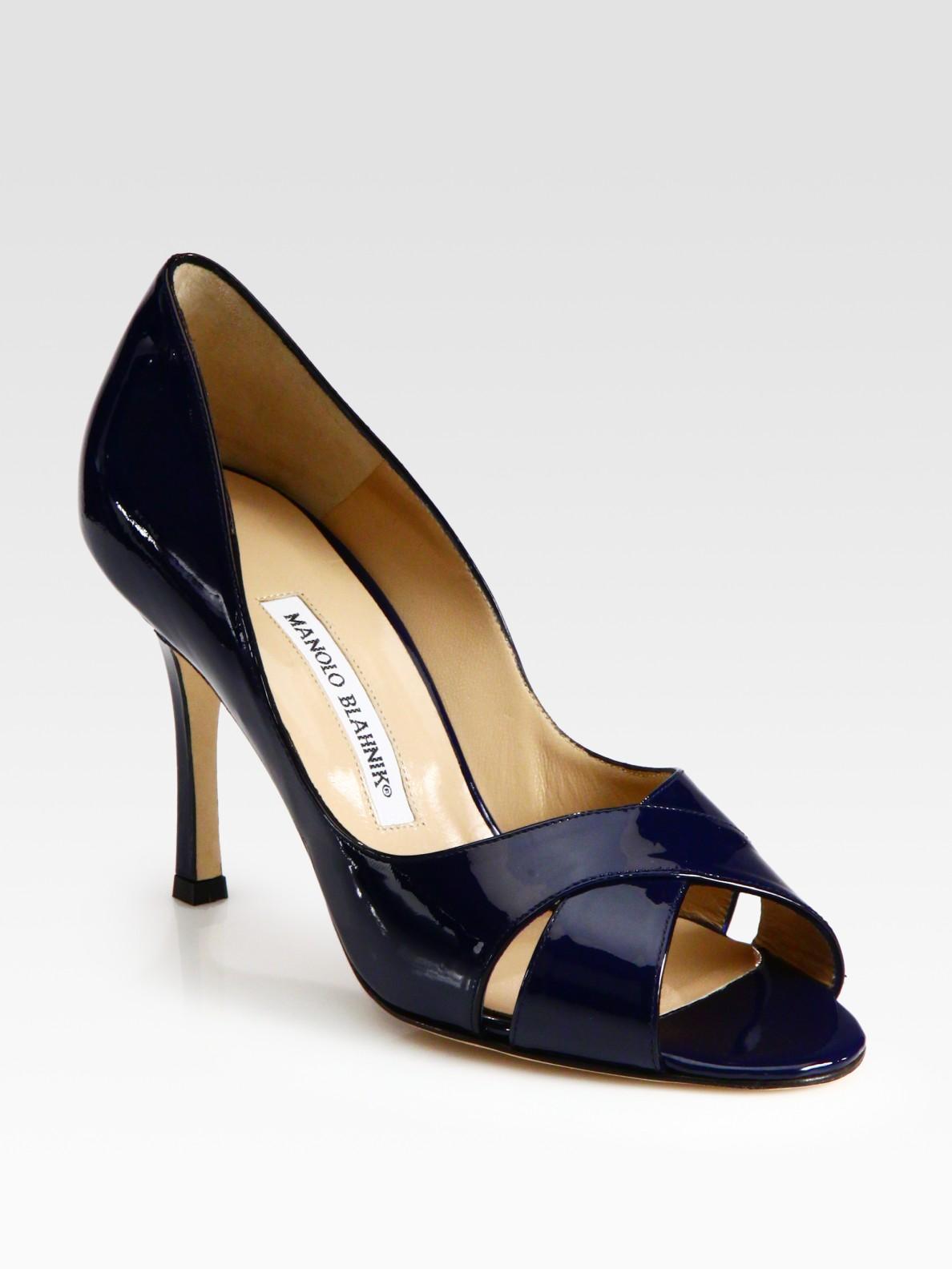 Lyst Manolo Blahnik Patent Leather Peep Toe Pumps In Blue
