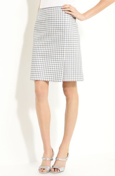 Marc Jacobs Gingham Print Leather Skirt in Gray (grey ivory) - Lyst