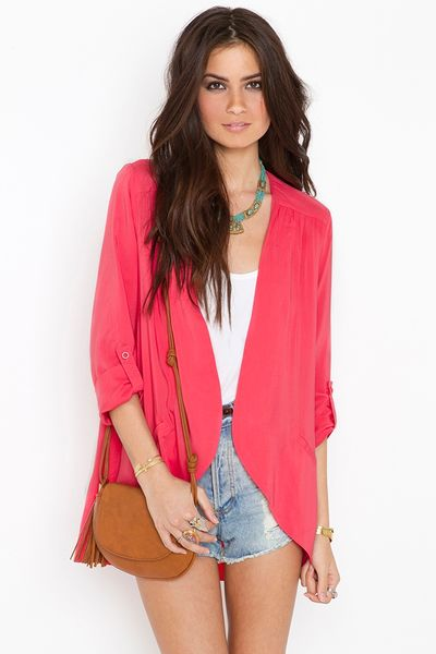 Nasty Gal Boardwalk Blazer in Pink (coral) - Lyst