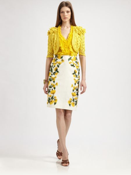 Oscar De La Renta Cotton Flower Skirt in Yellow (chartreuse) - Lyst