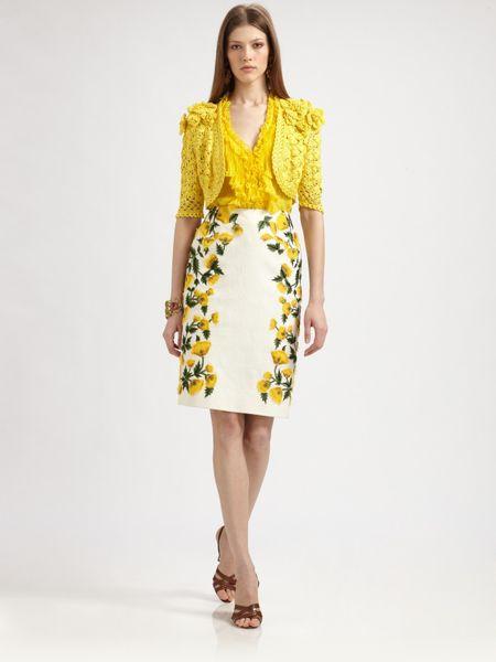 Oscar De La Renta Cotton Flower Skirt in Yellow (chartreuse)