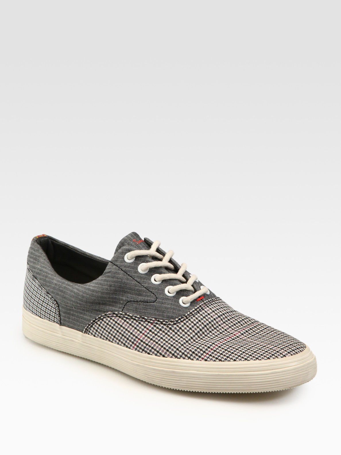 paul smith canvas sneakers in gray for lyst