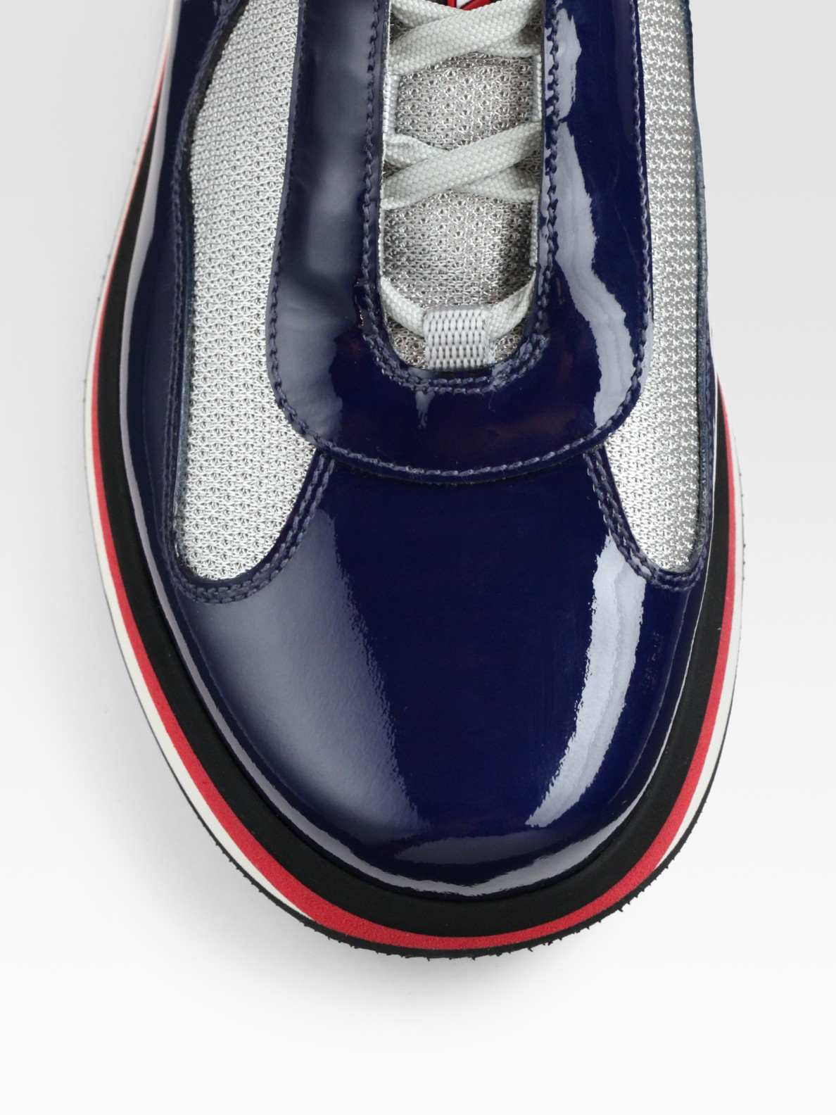 Lyst Prada Americas Cup Patent Leather Sneakers In Black