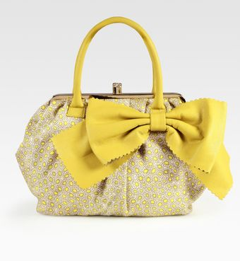 RED Valentino Daisy-print Canvas and Calfskin Bow Satchel - Lyst