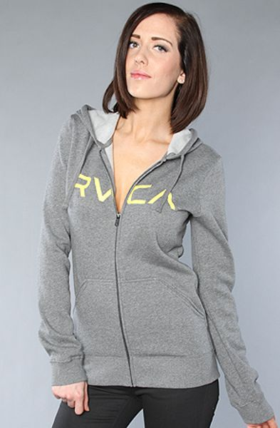 Rvca The Big Rvca Zip Hoody in Athletic Heather Gray in Gray - Lyst