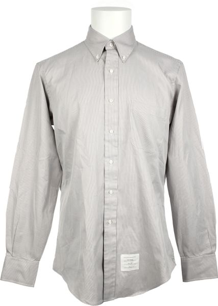 Thom Browne Cotton Shirt in Gray for Men (pearl) - Lyst