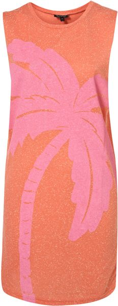 Topshop Puff Print Palm Tree Tunic in Orange (orange sorbe) - Lyst