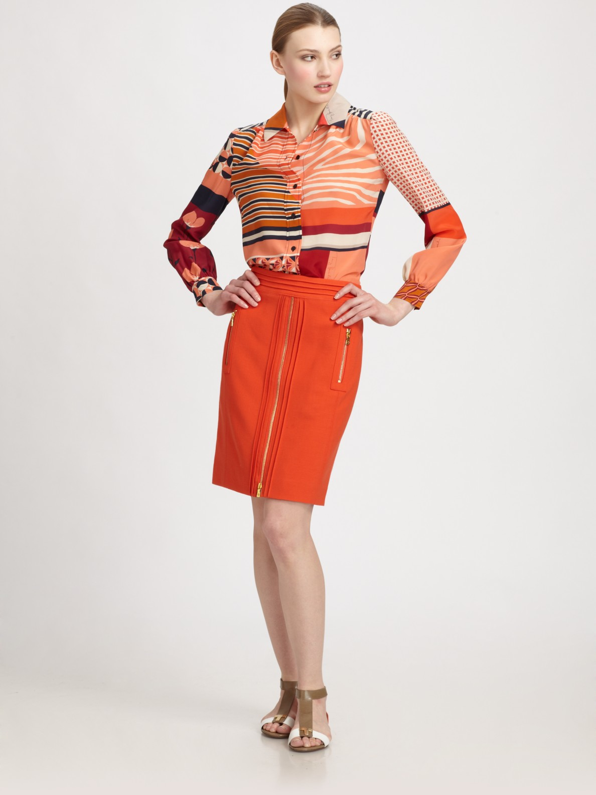 7a19613831370 Lyst - Tory Burch Angelique Silk Blouse in Orange