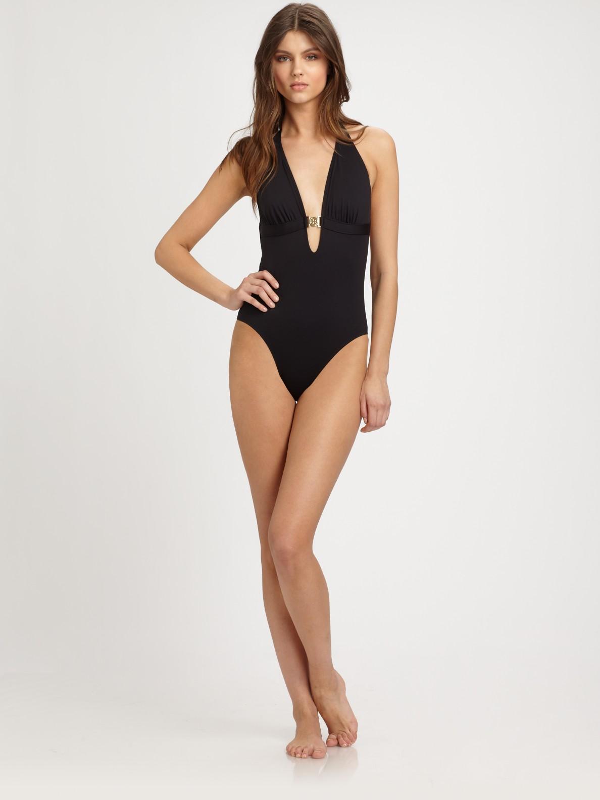 881c716c3103 Tory Burch One-piece Halter Swimsuit in Black - Lyst