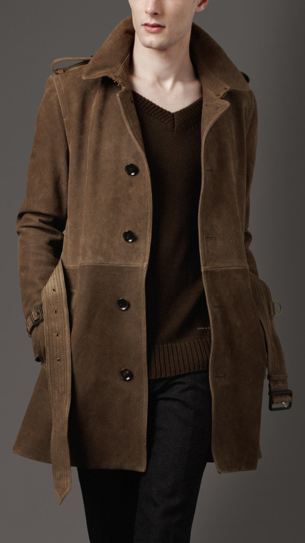 hot-selling real official buying cheap Burberry Brown Suede Trench Coat for men